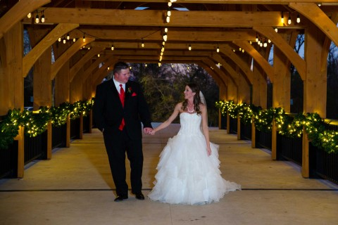 Christmas wedding bridge, Hawk Photography